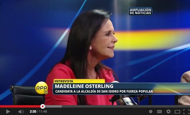 Madeleine Osterling, candidata a la alcaldía de San Isidro (Foto RPP)