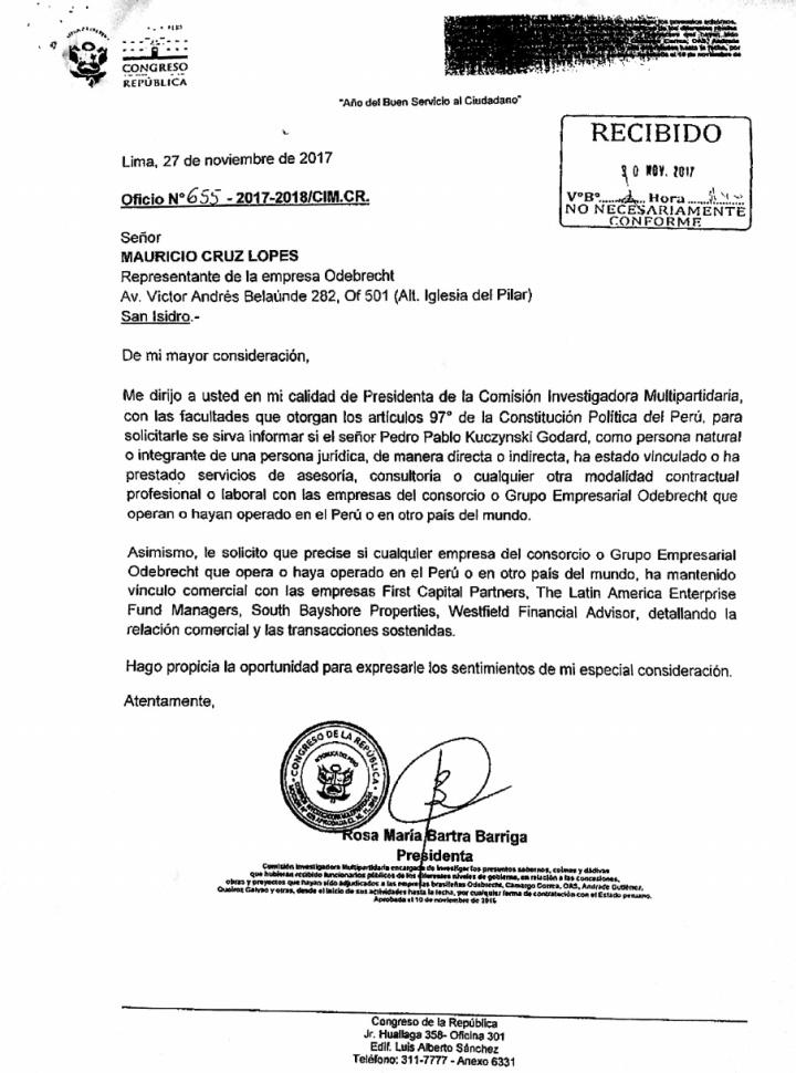 Carta Bartra Odebrecht