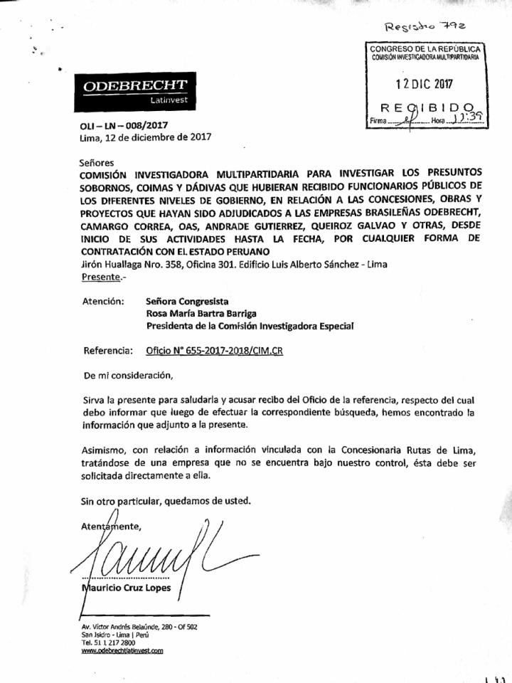 Carta Odebrecht - Bartra